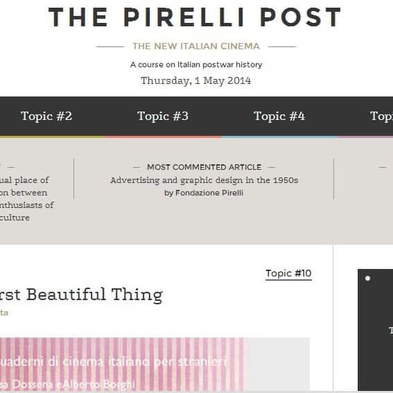 Cultura e storia d'Italia in modo innovativo: online The Pirelli Post