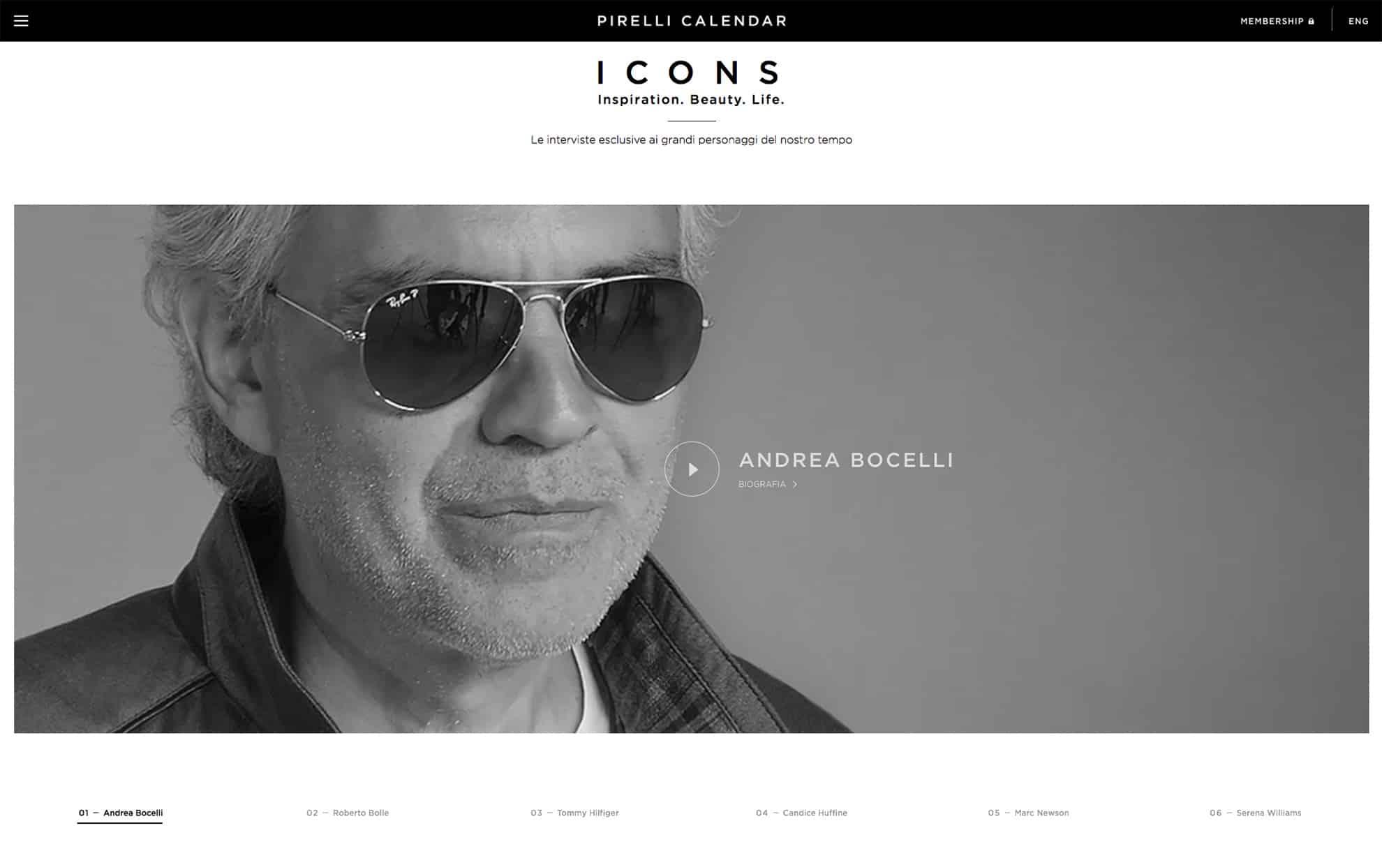 www.pirellicalendar.com ICONS - Il nuovo sito del Calendario Pirelli
