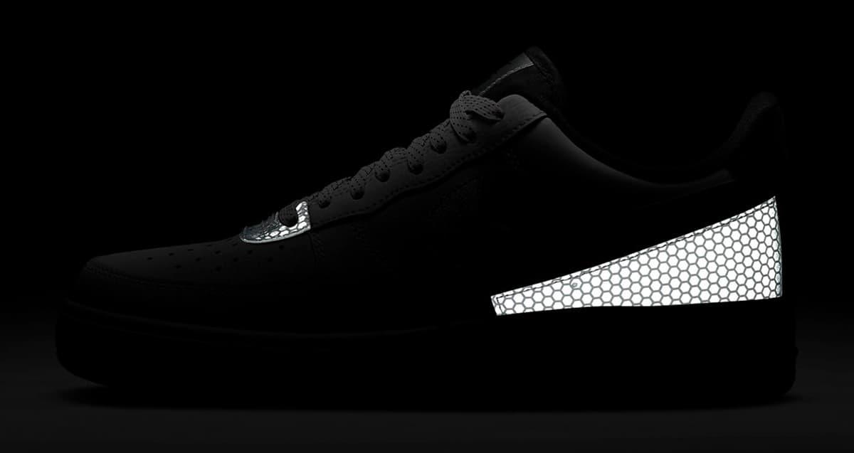 Nike Air Force black metallic silver